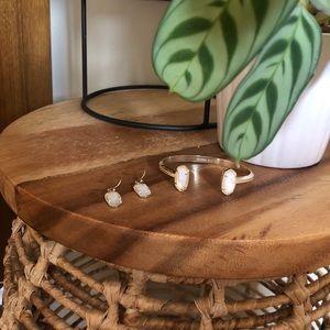 KENDRA SCOTT Gold Earrings and Cuff Ivory Pearl